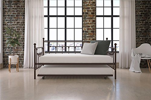 DHP Manila Metal Framed Daybed with Trundle, Twin - Bronze - Bedroom Modern Daybed