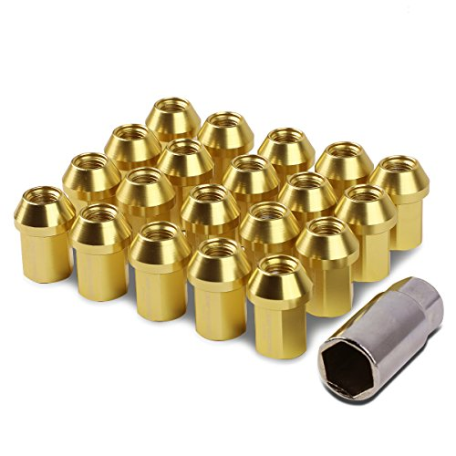 - M12 x 1.5 Close End 20-Piece Aluminum Alloy Wheel Lug Nuts + Deep Drive Extension (Gold)