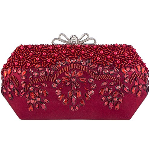 Bagood Women's Acrylic Embroidery Beaded And Sequined Evening Bag Wedding Party Handbag Shoulder Clutch Purse Red