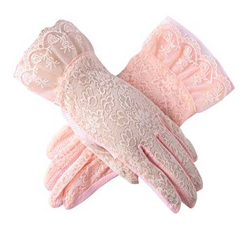 - Urban CoCo Vintage Spring and Summer Women's Lace Cotton Short Gloves (Model 3-Pink)