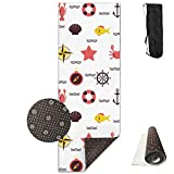 SARA NELL Yoga Mat Marine Beach Pattern Design Printed Hot Yoga Mat With Carry Strap And Carry Bag Extra Large Non-Slip Exercise Mat 71''X 24''X 0.25''