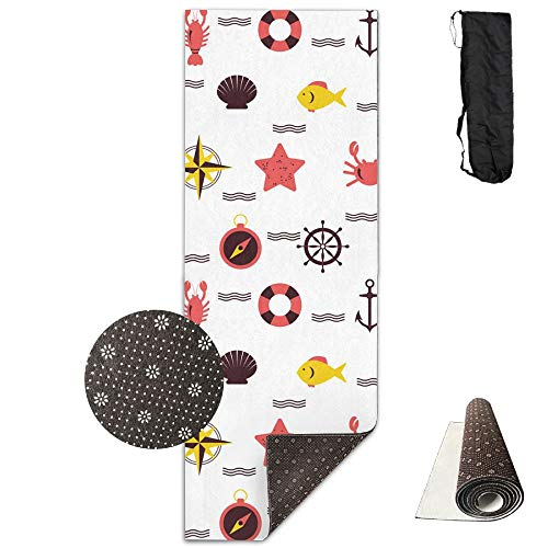 SARA NELL Yoga Mat Marine Beach Pattern Design Printed Hot Yoga Mat With Carry Strap And Carry Bag Extra Large Non-Slip Exercise Mat 71''X 24''X 0.25'' by SARA NELL