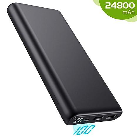 Kilponen Batería Externa para Móvil 24800mAh, Power Bank Gran Capacidad con Pantalla LED, Cargador Portátil Móvil 2 Puertos Salidas USB Compatible con ...