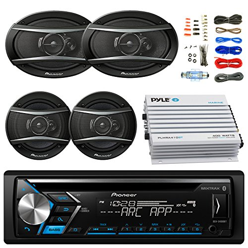 Pioneer DEH-S4000BT Bluetooth Radio USB AUX CD Player Receiver - Bundle w/ 2x TSA1676R 6.5
