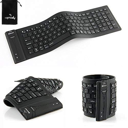 Wireless Folding Bluetooth Keyboard Silicone Bluetooth Keyboard for iOS Windows Android Tablets, Smartphones, Laptops, PC and More ()