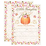 Pumpkin Fall Baby Shower Invitations, Pumpkin Baby Shower Invitation, Girl Fall Shower Invite, Little Pumpkin, Autumn Floral Baby Shower, Gender Reveal Party, 20 Fill in Style with Envelopes