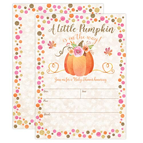 Pumpkin Fall Baby Shower Invitations, Pumpkin Baby Shower Invitation, Girl Fall Shower Invite, Little Pumpkin, Autumn Floral Baby Shower, Gender Reveal Party, 20 Fill in Style with - Invitations Baby Shower Pumpkin