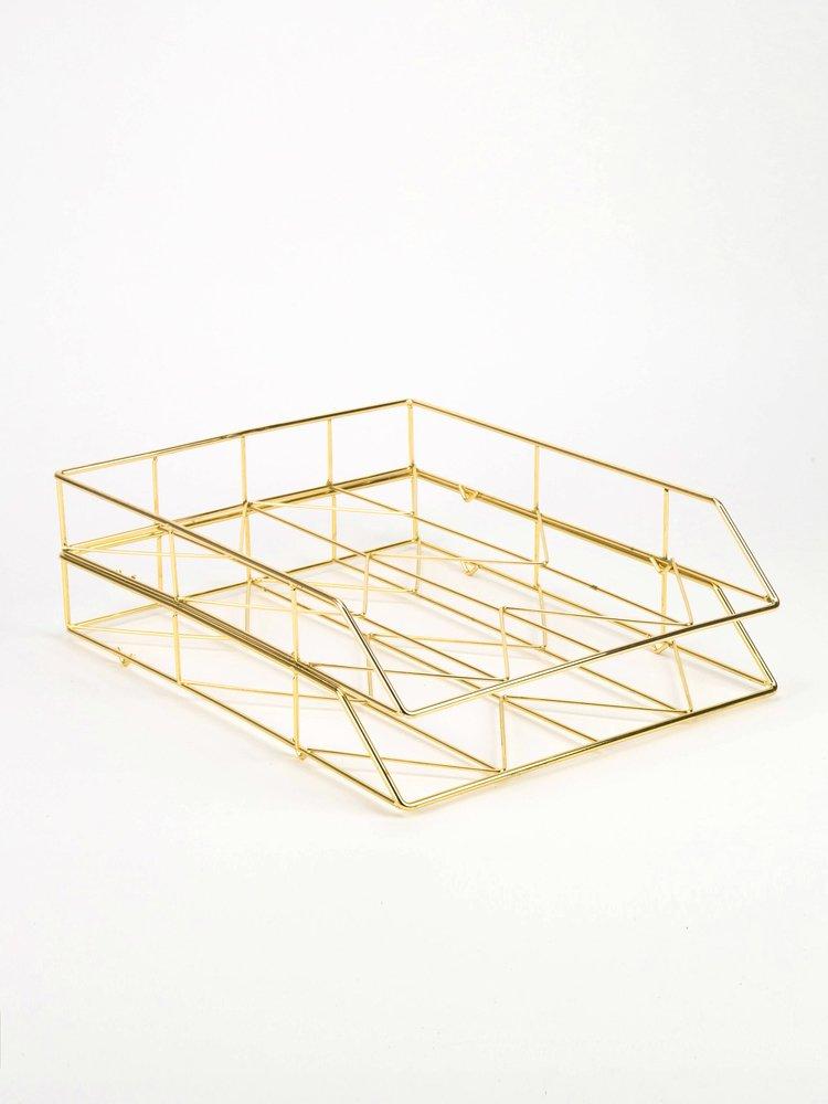 Amazon.com: U Brands Desktop Letter Tray, Wire Metal, Gold: Office