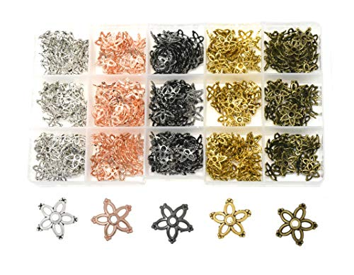 Mandala Crafts End Bead Cap, End Cap Bead Cover Assorted Set from Metal for Jewelry Making; Rose Gold, Gunmetal, Silver, Gold Color (Floral Petal, 13mm)