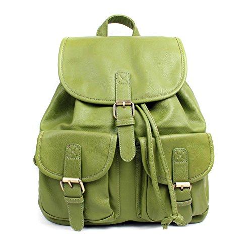 Aossta Ladies Faux Leather Vintage Backpack College School Rucksack Bag Green