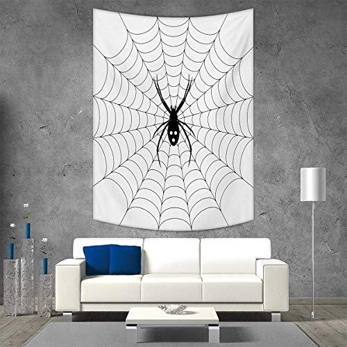 smallbeefly Spider Web Tapestry Wall Hanging 3D Printing Poisonous Bug Venom Thread Circular Cobweb Arachnid Cartoon Halloween Icon Beach Throw Blanket 60W x 91L INCH Black White