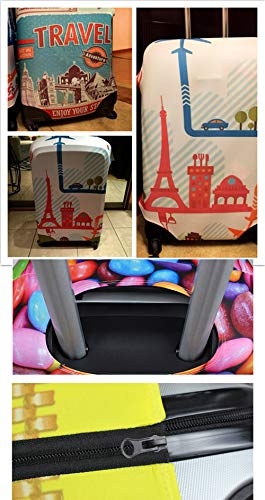 Bigcardesigns Fashion Butterfly Spandex Elastic Luggage Cover Travel Suitcase Protector L size for 26-30 inch luggage