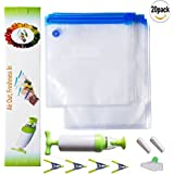 SUNYAO Sous Vide Bags Kit, 20 Reusable BPA Free Food Vacuum Sealed Bags,Reusable & Easy to Use, Practical for Food Storage & Cooking (20)