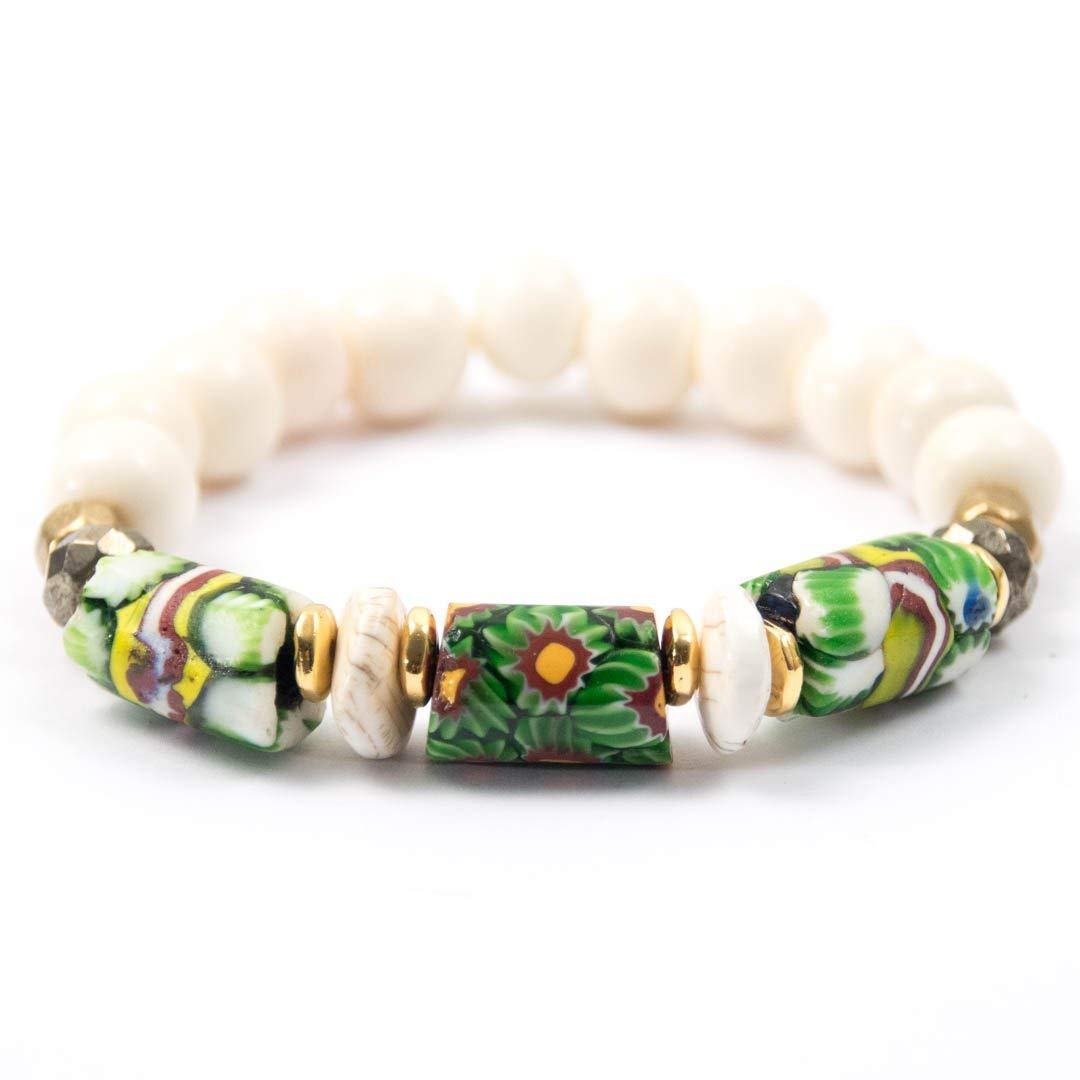 Amazon Com Antique Venetian Millefiori Glass Bead Bracelet With Conch Shell Beads 7 Inches Long Handmade Bracelet By Miller Mae Designs Handmade