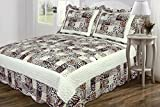 3 PC Quilted Bedspread Coverlet, Multi Animal Print Patchwork Design, High Quality Brushed Microfiber Full Size
