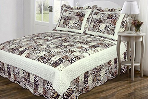 Legacy Decor 3 PC Quilted Bedspread Coverlet, Multi Animal Print Patchwork Design, Brushed Microfiber King Size