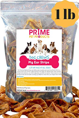 PIG EAR STRIPS FOR DOGS | One Pound Bag (20+) of All Natural Healthy Dog Treats | Made of Pure Cut Pork Slivers | Best Alternative to Rawhide Chews | Thick Cut Treat for Small, Medium and Large Dogs