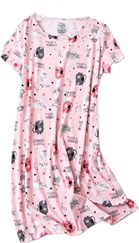 Amoy-Baby Women's Nightgowns Short Sleeves Cotton Sleepwear Print Sleep Shirt XTSY108-Pink Cat-XL