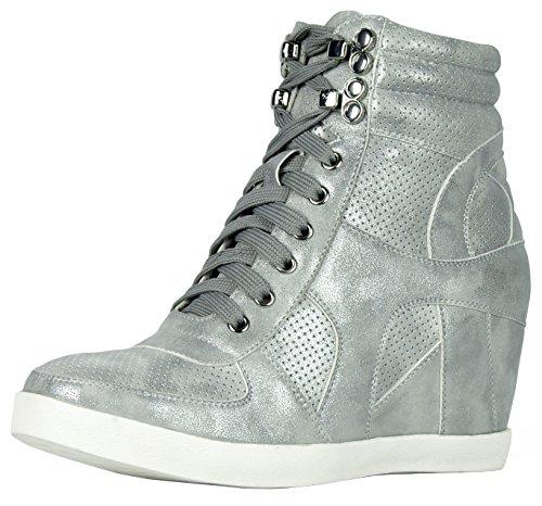 Refresh Footwear Women's High Top Hidden Wedge Fashion Sneaker (8 B(M) US, Silver)
