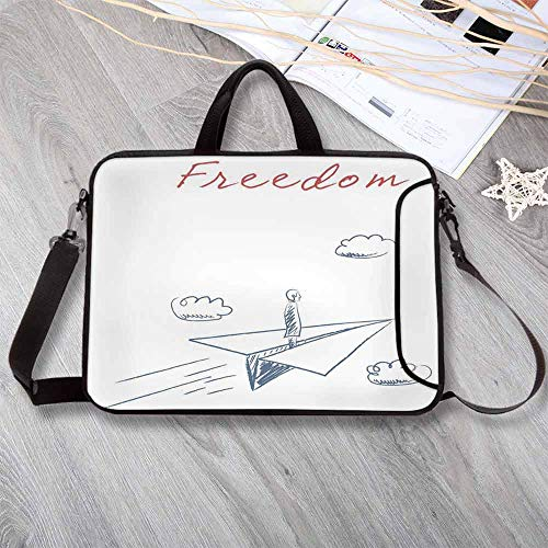 05 By Ivory Rug (Adventure Custom Neoprene Laptop Bag,Flying Paper Plane in Hand Drawn Sketch Cartoon Style Freedom Text Clouds Decorative Laptop Bag for Men Women Students,15.4