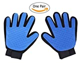 Pet Grooming Gloves By Shop Top Pets | Rubber Groomer For Dogs & Cats With Short Or Long Hair | Furniture Deshedding Tool With Soft Massaging Tips | Comfortable Pet Hair Removal & Fur Shedding