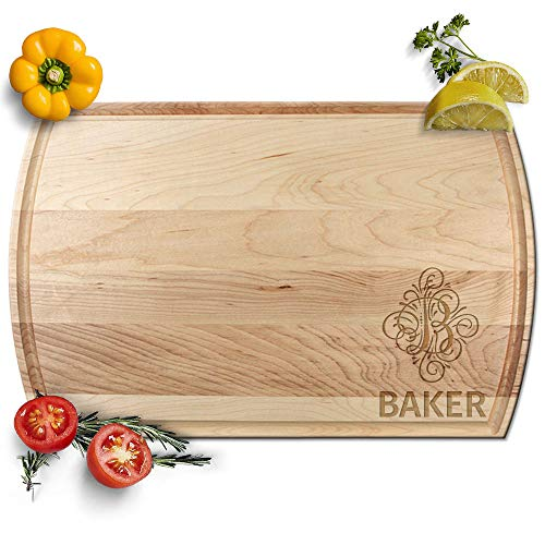 - Froolu Classy Vintage Monogram engraved wooden chopping boards for Name & Initial Engraved Christmas Gifts