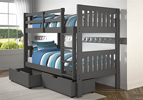 Donco Kids Mission Bunk Dual Under Bed Drawers, Twin/Twin/Twin, Dark Grey