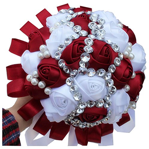 2015-Accept-DIY-Color-Wedding-Bouquet-Dark-Red-White-Bridal-Flowers-Diamond-Pearl-Beaded-Silk-Holder-Bouquet