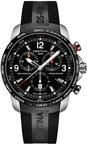 Certina DS Podium Big Size - Chronograph Black Rubber Mens Quartz Watch C0016472705700