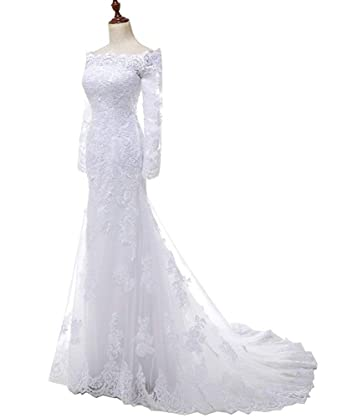 67e548aa94a SOLOVEDRESS Women s Boat Neck Lace Long Sleeves Wedding Dress Bridal Gown (US  2