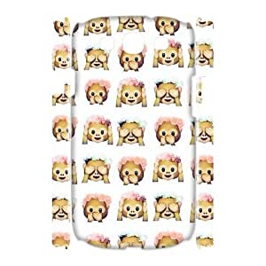 Qxhu Cute Monkey Emoji patterns Protective Snap On Hard Plastic Case for Samsung Galaxy S3 I9300 3D case
