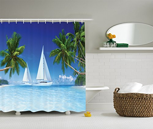 Ambesonne Tropical Palm Trees and Ocean Houseboat Decor Collection, Nautical Window Scenery Sailboat Sea Life Seascapes Caribbean, Polyester Fabric Bathroom Shower Curtain Set with Hooks (Hooks Caribbean House)