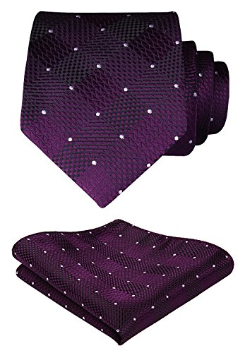 (HISDERN Check Geometric Tie Handkerchief Woven Wedding Classic Men's Necktie & Pocket Square Set Purple & White)