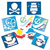 Pirate Plastic Stencils for Children to Decorate Arts and Crafts Cards and Collages (Pack of 6)