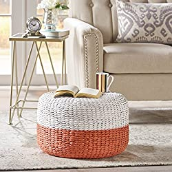 Tammy Pink and White Water Hyacinth Wicker Foot Stool
