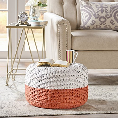 Great Deal Furniture 304049 Tammy Pink and White Water Hyacinth Wicker Foot Stool, ()