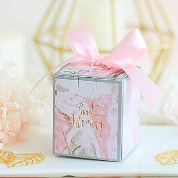 Amazon.com: Cajas de regalo de boda rosa con cinta de ...
