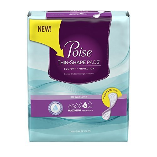 Poise Thin-Shape Maximum Absorbency Pads, Regular Length, 48 Count (Pack of 4) by Poise
