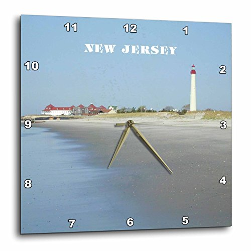3dRose dpp_80580_3 Cape May New Jersey with Lighthouse N Beach Wall Clock, 15 by 15-Inch