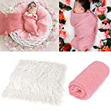 Aniwon 2Pcs Baby Photo Props Long Ripple Wraps DIY Blanket Newborn Wraps Photography Mat for Baby Boys and Girls (Pink&Milk White)