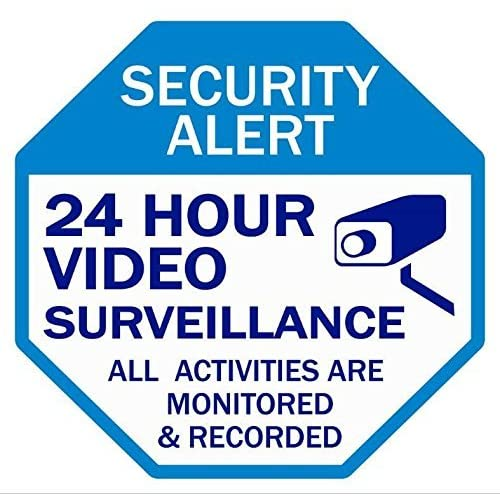Video Surveillance Home Security Sign,Security Alert 24 Hour Video Surveillance All Activities are Monitored & Recorded Stop Sign