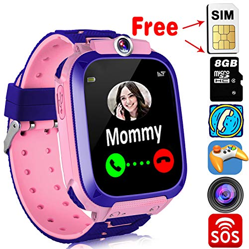 Kids Smart Watch Phone with Free SIM Card,Game Smartwatch for Girls Boys Music Player Watch with Two-Ways Call Camera SOS 12-Hour Clock 1.4'' Touch Screen Watches Learning Toys 4-12 Birthday Gifts ()