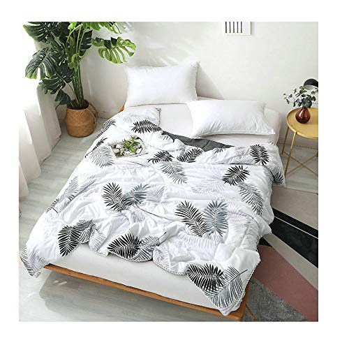 Leaves, White Queen 80\ KFZ Lattice Stripe Printed Quilt Comforter Cotton Bedspread for Bedding Set Breathable Ultrasound Quilted Quilt CA1903 Twin Full Queen for Adults Kids Baby 1pc (Leaves, White, Queen 80 x90 )