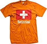 Flag of Switzerland, Swiss Flag, Schweizer Men's T-shirt, NOFO Clothing Co. L Orange