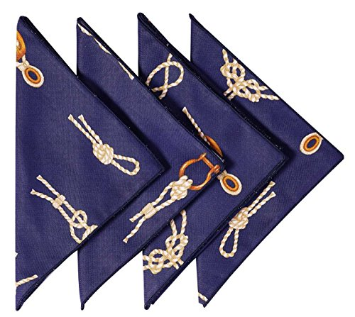 Knot Dinner (Cloth Napkins Table Linens Linen Napkins Dinner Napkins Nautical Beach Set of 4 Navy Knots 18