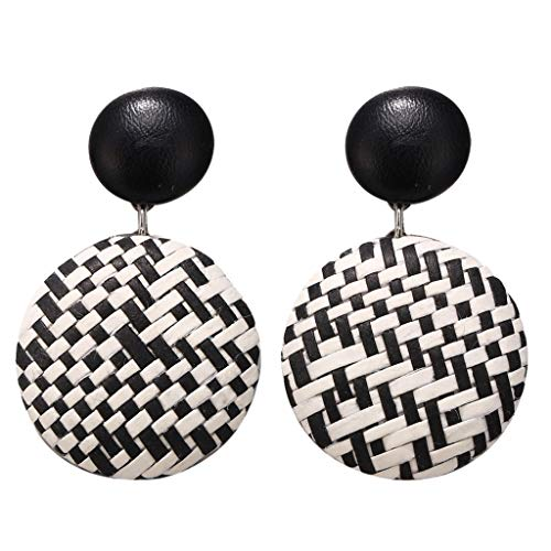 Fashion Women Earrings LODDD Bohemian Style Wood Bamboo Rattan Geometric Round Earrings Ladies Jewelry Accessories
