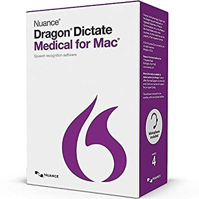 Nuance T301A-G00-4.0 Dragon Dictate Medical for Mac - 1 License Retail Box with No Maintenance