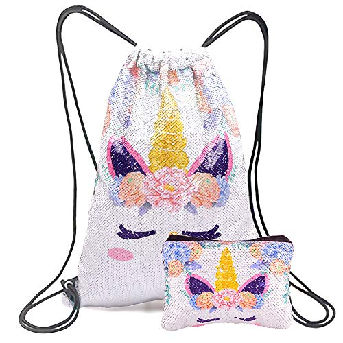 Xiaowli Unicorn Gifts Magic Reversible Sequin Drawstring Backpack with Unicorn Pouch Sets Mermaid School Dance Bags for Girls (C Silver)