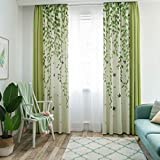 Pastoral Bay Window Curtain Living Room Green Plant Leaf Fresh Shading Bedroom Cotton Curtain Fabric (Size : 2 * 2.7m)