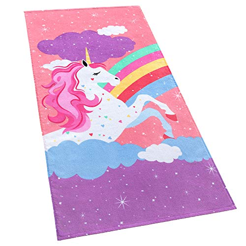 Softerry Rainbow Unicorn Velour Beach Towel for Kids 28in x 55in 100% Cotton ()